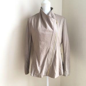 Via Spiga Genuine Lamb Leather Taupe Tan Jacket